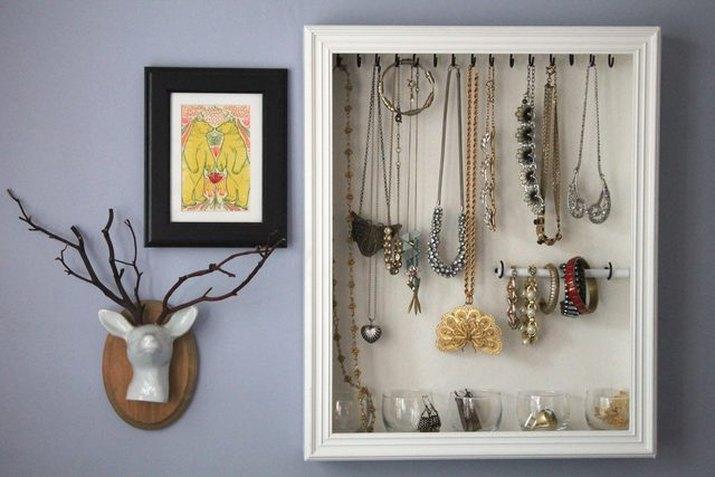 Shadowbox jewelry organizer