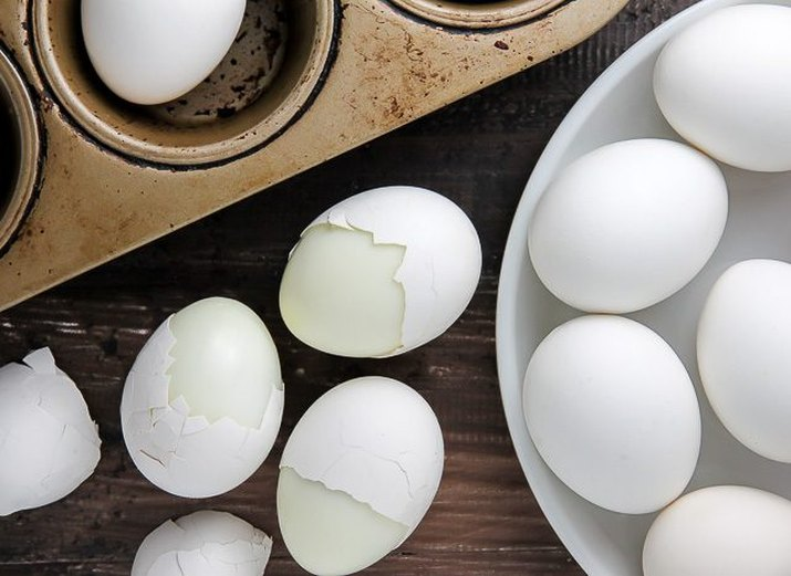 Hard-boiled eggs baked in a muffin pan