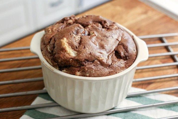 Chocolate soufflé in a ramekin.
