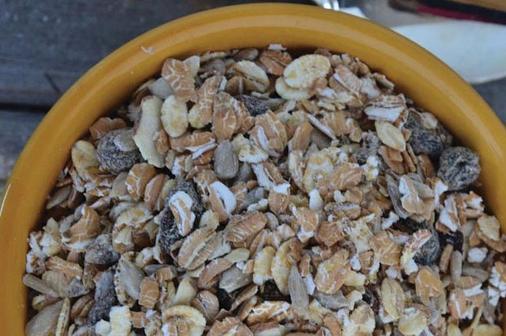 A heaping bowl of gluten-free muesli.