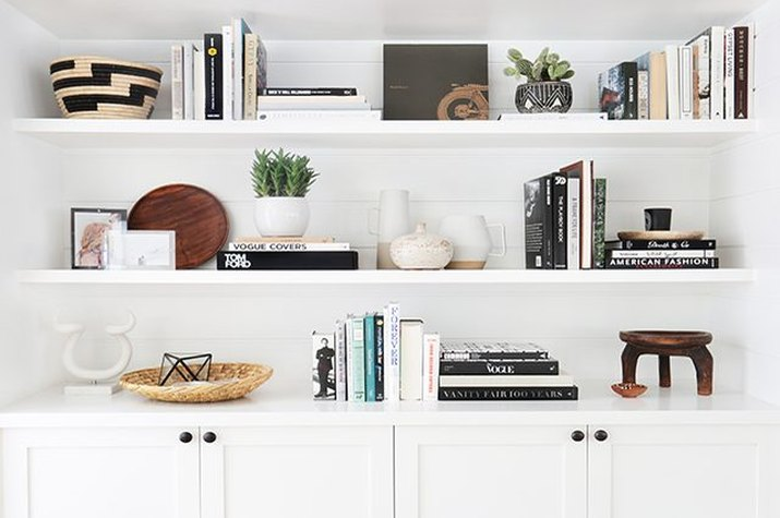 Curated bookshelves.