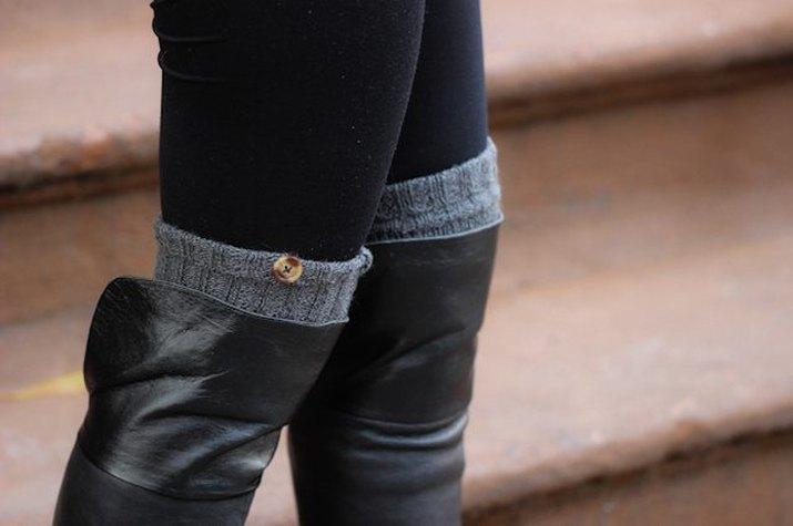 faux-buttoned sweater leg warmers