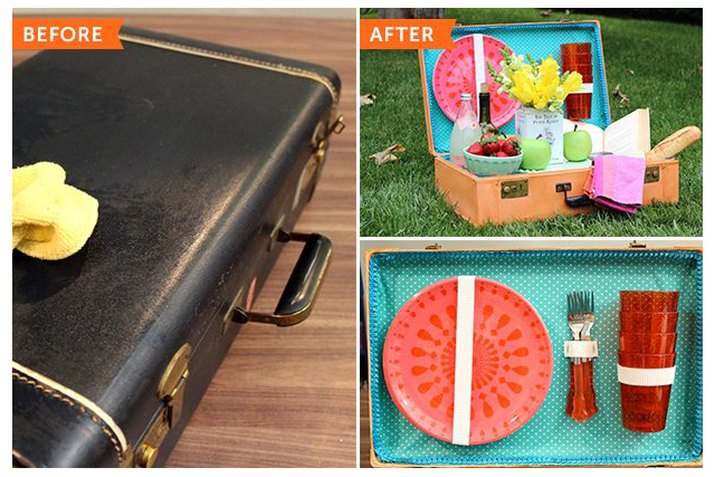 suitcase transformed into a picnic basket