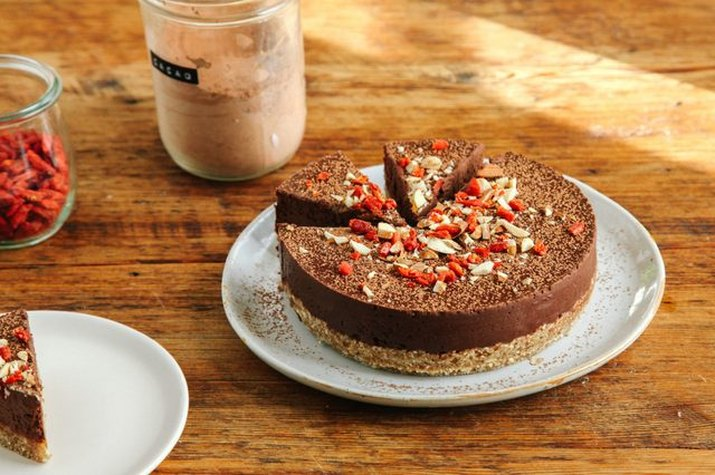 A plate with a no-bake chocolate almond tart.