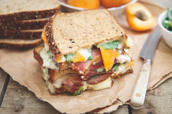 Grilled cheese with apricot, bacon and brie.