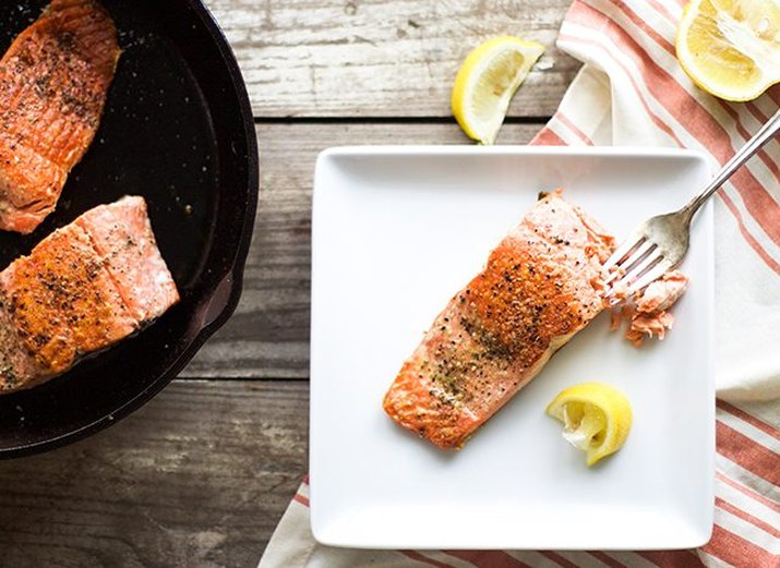salmon cooked on stove