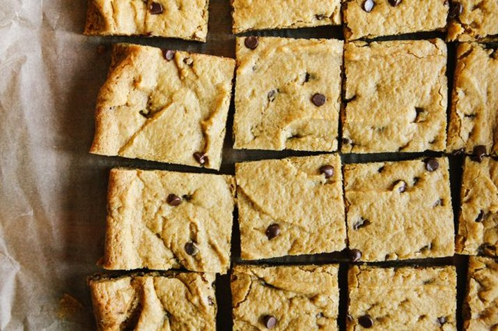 Cubes of chewy pumpkin chocolate chip cookie bars.
