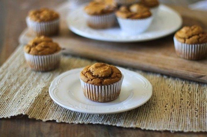 Plates of pumpkin muffins.
