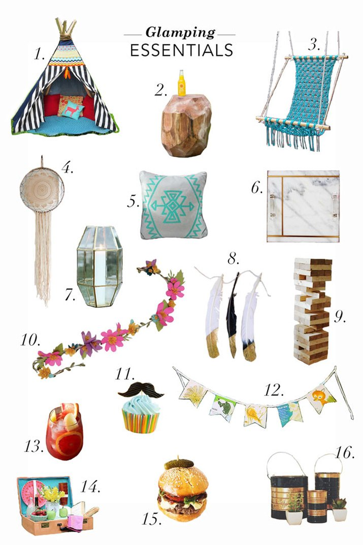 mood board featuring various glamping essential items