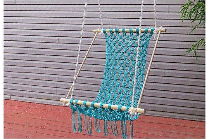 blue hammock hanging outside