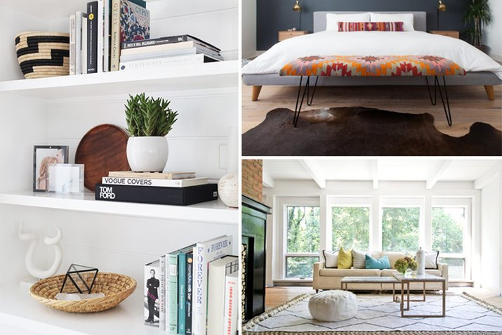 Shelving, a bedroom and a living room.