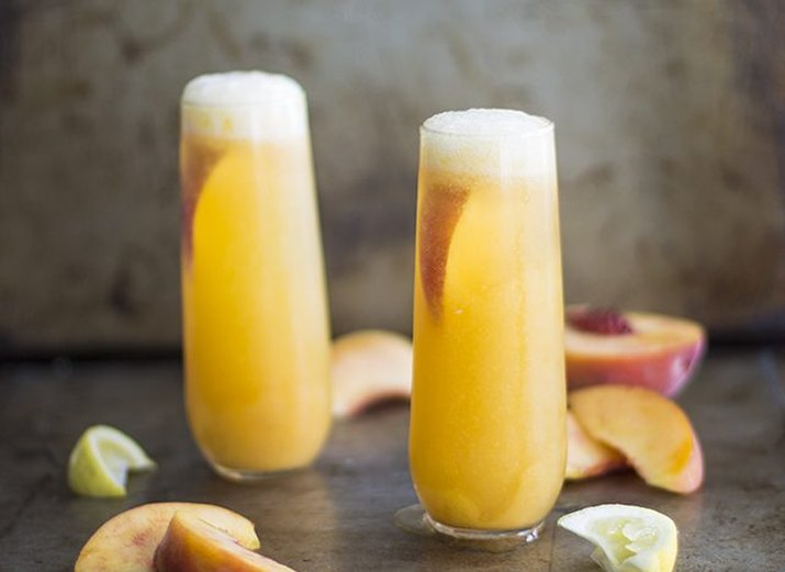 Recipe for a peach bellini.