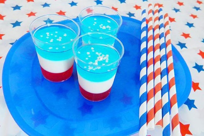 Shot glasses layered in red, white and blue.
