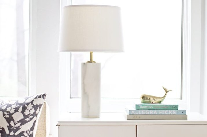 Marble table lamp.