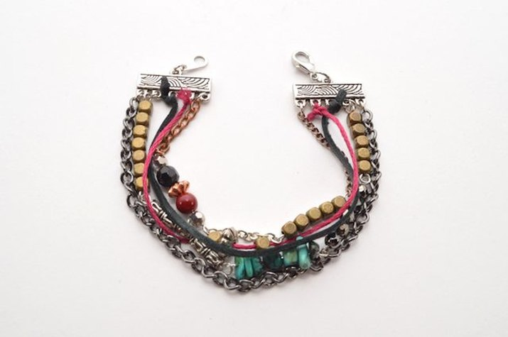 Combine leftover supplies to create mixed media jewelry.