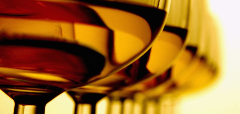 Glasses of wine in a row