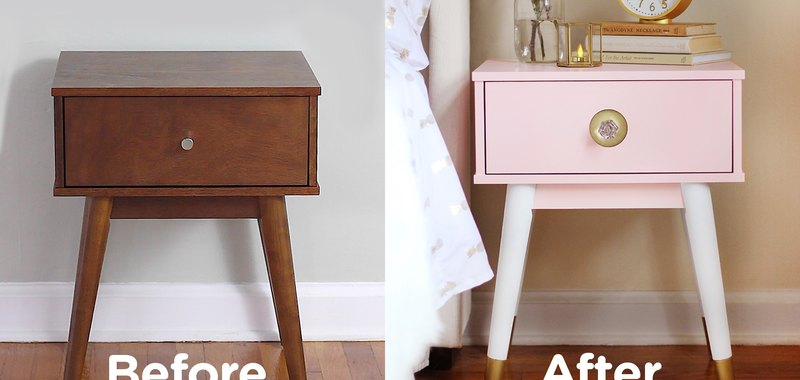 Before and after comparison of nightstand