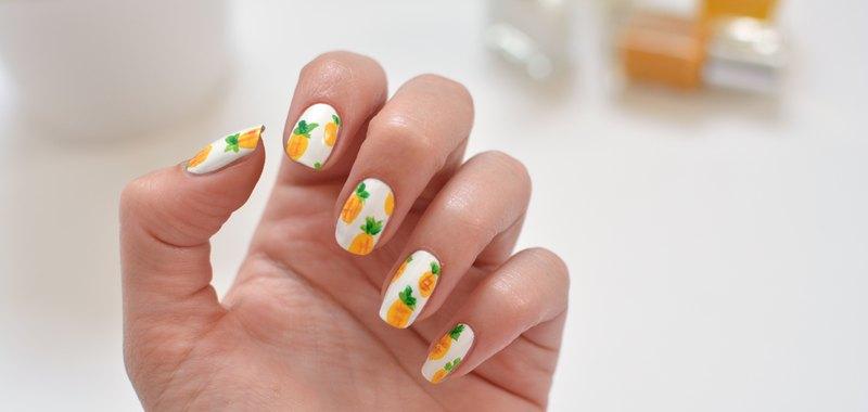 how to pineapple nail art
