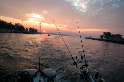 Fishing during Ludington, Mich.