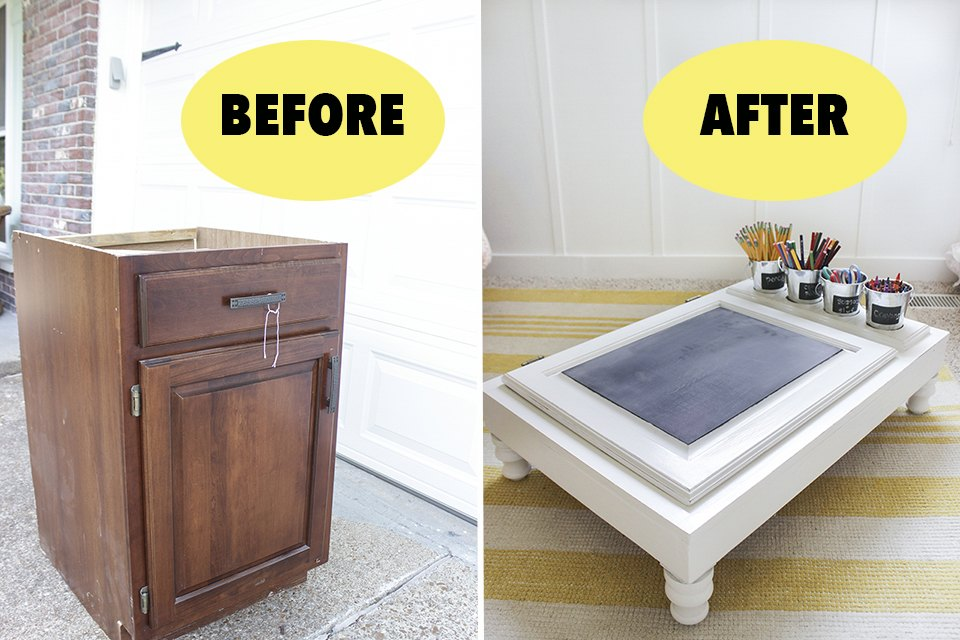 Kitchen cabinet turned into a child's portable desk before and after.